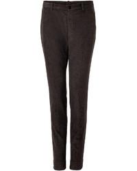 Pantalon de costume en velours côtelé marron foncé