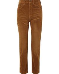 Pantalon de costume en velours côtelé marron Saint Laurent