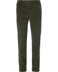 Pantalon de costume en velours côtelé olive