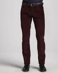 Pantalon de costume en velours côtelé pourpre foncé