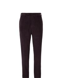 Pantalon de costume en velours côtelé pourpre foncé Canali