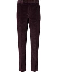 Pantalon de costume en velours côtelé pourpre foncé Richard James