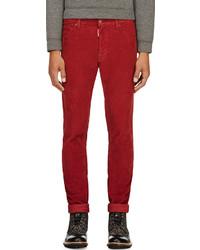 Pantalon de costume en velours côtelé rouge DSquared