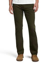 Pantalon de costume en velours côtelé vert foncé
