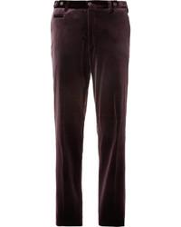Pantalon de costume en velours rouge Etro