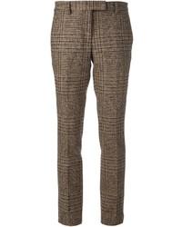 Pantalon de costume en vichy brun