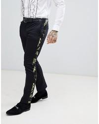 Pantalon de costume imprimé noir