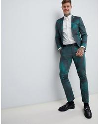 Pantalon de costume imprimé vert foncé Twisted Tailor