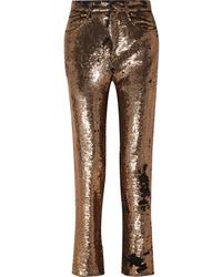 Pantalon de costume pailleté doré IRO