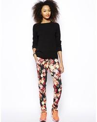 Pantalon de jogging à fleurs noir Vero Moda