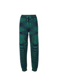 Pantalon de jogging à rayures horizontales vert foncé M Missoni
