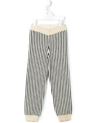 Pantalon de jogging à rayures verticales beige