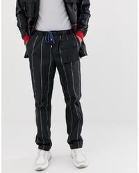 Pantalon de jogging à rayures verticales noir et blanc Lyph
