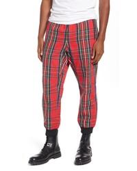 Pantalon de jogging écossais rouge