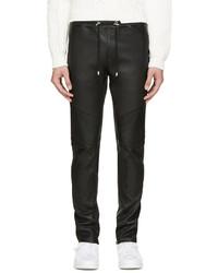 Pantalon de jogging en cuir noir Balmain