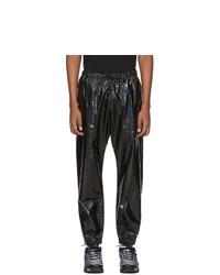 Pantalon de jogging en cuir noir Marcelo Burlon County of Milan