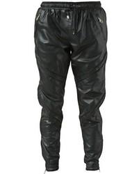 Pantalon de jogging en cuir noir