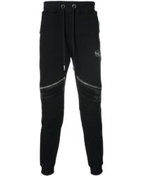 Pantalon de jogging en cuir noir Philipp Plein
