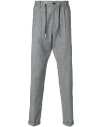 Pantalon de jogging en laine à carreaux gris Eleventy