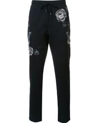 Pantalon de jogging en laine brodé bleu marine Dolce & Gabbana