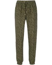 Pantalon de jogging en soie imprimé olive MICHAEL Michael Kors