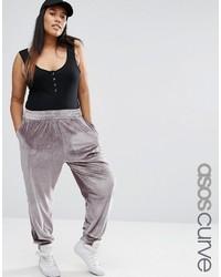 Pantalon de jogging en velours gris Asos