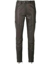 Pantalon en cuir gris foncé Moschino