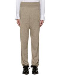 Pantalon en laine en tricot marron clair Lanvin