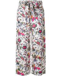 Pantalon en soie blanc Tory Burch