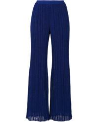 Pantalon en soie bleu marine Missoni
