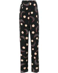 Pantalon en soie imprimé noir Giorgio Armani