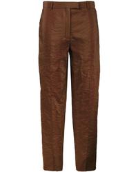 Pantalon en soie marron Nina Ricci
