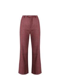 Pantalon flare à carreaux rouge Chloé