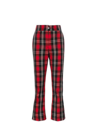Pantalon flare à carreaux rouge MSGM