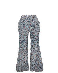 Pantalon flare à fleurs bleu clair Chloé