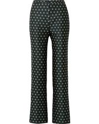 Pantalon flare à fleurs vert foncé