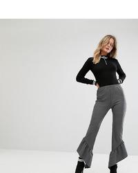 Pantalon flare à rayures verticales gris foncé Missguided