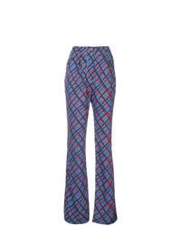 Pantalon flare écossais bleu Marni