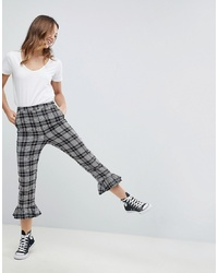 Pantalon flare écossais gris ASOS DESIGN