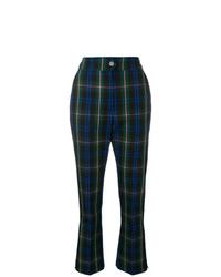Pantalon flare écossais noir MSGM