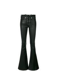 Pantalon flare en cuir noir Manokhi