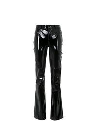 Pantalon flare en cuir noir Tufi Duek