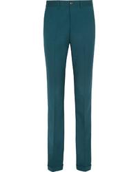 Pantalon flare en laine bleu canard Miu Miu