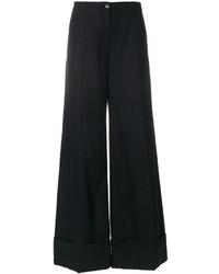 Pantalon flare en laine bleu marine Nina Ricci
