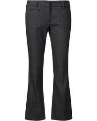 Pantalon flare en laine gris foncé Brunello Cucinelli