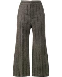Pantalon flare en laine gris foncé Isabel Marant