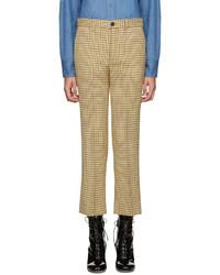 Pantalon flare en laine jaune Miu Miu