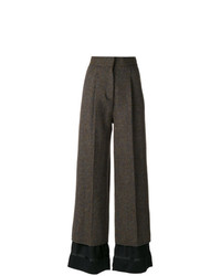 Pantalon flare en laine marron foncé Maison Margiela