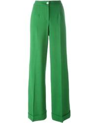 Pantalon flare en laine vert Dolce & Gabbana