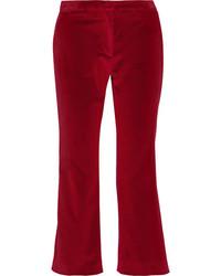 Pantalon flare en velours bordeaux